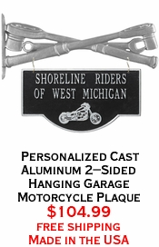 Personalized Cast Aluminum 2-Sided Hanging Garage Motorcycle Plaque