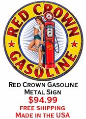 Red Crown Gasoline Metal Sign