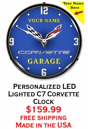 Personalized LED Lighted C7 Corvette Clock