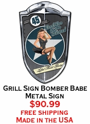 Grill Sign Bomber Babe Metal Sign