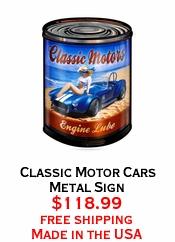 Classic Motor Cars Metal Sign