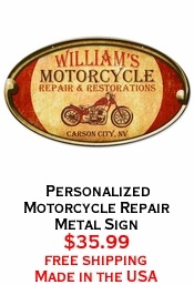 Personalized Motorcycle Repair Metal Sign
