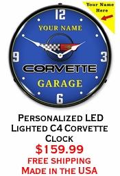 Personalized LED Lighted C4 Corvette Clock