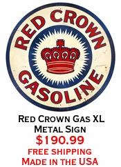 Red Crown Gas XL Metal Sign