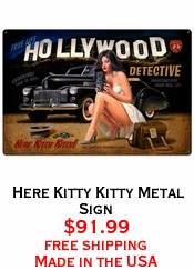 Here Kitty Kitty Metal Sign