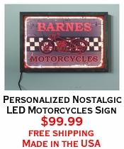 Personalized Nostalgic LED Motorcycles Sign