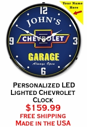 Personalized LED Lighted Chevrolet Clock