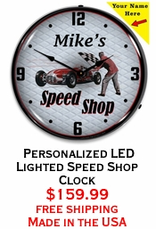Personalized LED Lighted Speed Shop Clock