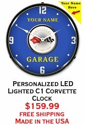 Personalized LED Lighted C1 Corvette Clock