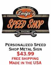 Personalized Speed Shop Metal Sign