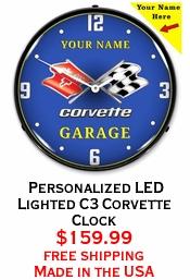 Personalized LED Lighted C3 Corvette Clock
