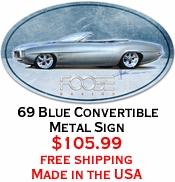 69 Blue Convertible Metal Sign