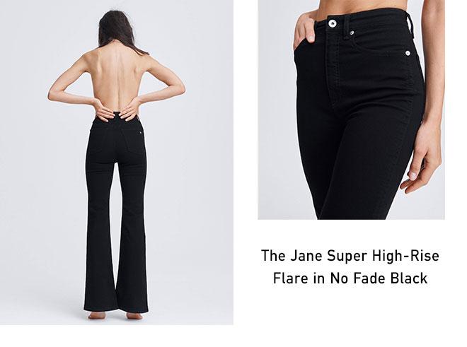 The Jane Super High-Rise Flare in No Fade Black.