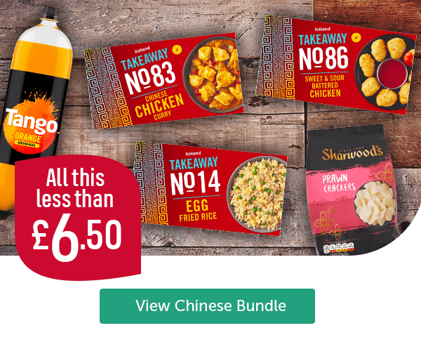 All this less than �50 Tango Orange Iceland Chinese Chicken Curry Iceland Takeaway Egg Fried Rice Iceland Takeaway Sweet & Sour Battered Chicken Sharwoods Prawn Crackers View Chinese Bundle