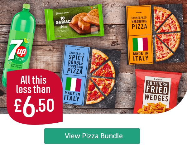 All this less than �50 7up Iceland Garlic Slices 10 Pack Iceland Stonebaked Spicy Double Pepperoni Pizza Iceland Stonebaked Margherita Pizza Iceland Southern Fried Wedges View Pizza Bundle