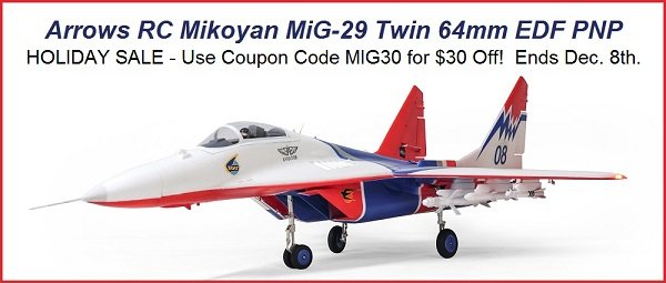 Arrows RC Mikoyan MiG-29 Twin 64mm EDF PNP | Use coupon code MIG30 for $30 off.