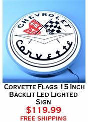 Corvette Flags 15 Inch Backlit Led Lighted Sign
