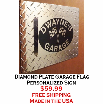 Diamond Plate Garage Flag Personalized Sign