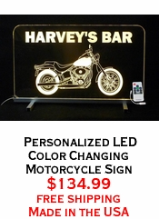 Personalized LED Color Changing Motorcycle Sign