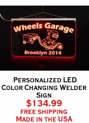 Personalized LED Color Changing Welder Sign