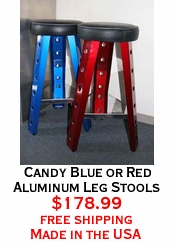 Candy Blue or Red Aluminum Leg Stools