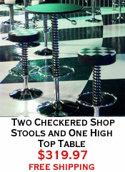 Two Checkered Shop Stools and One High Top Table
