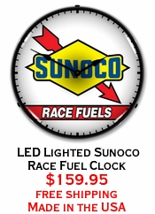 LED Lighted Sunoco Race Fuel Clock