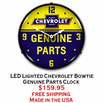 LED Lighted Chevrolet Bowtie Genuine Parts Clock