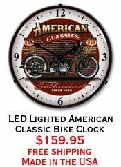 LED Lighted American Classic Bike Clock