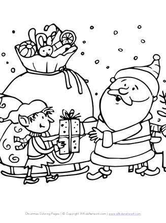 Santa in Action Coloring Page