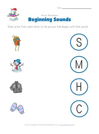 Winter Beginning Sounds Worksheet