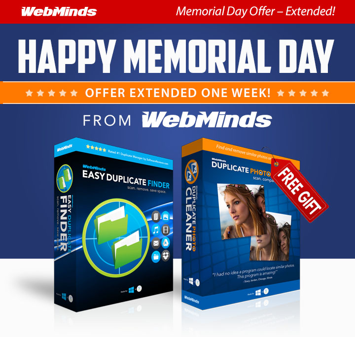 WebMinds Special Offer! Happy Memorial Day from WebMinds!