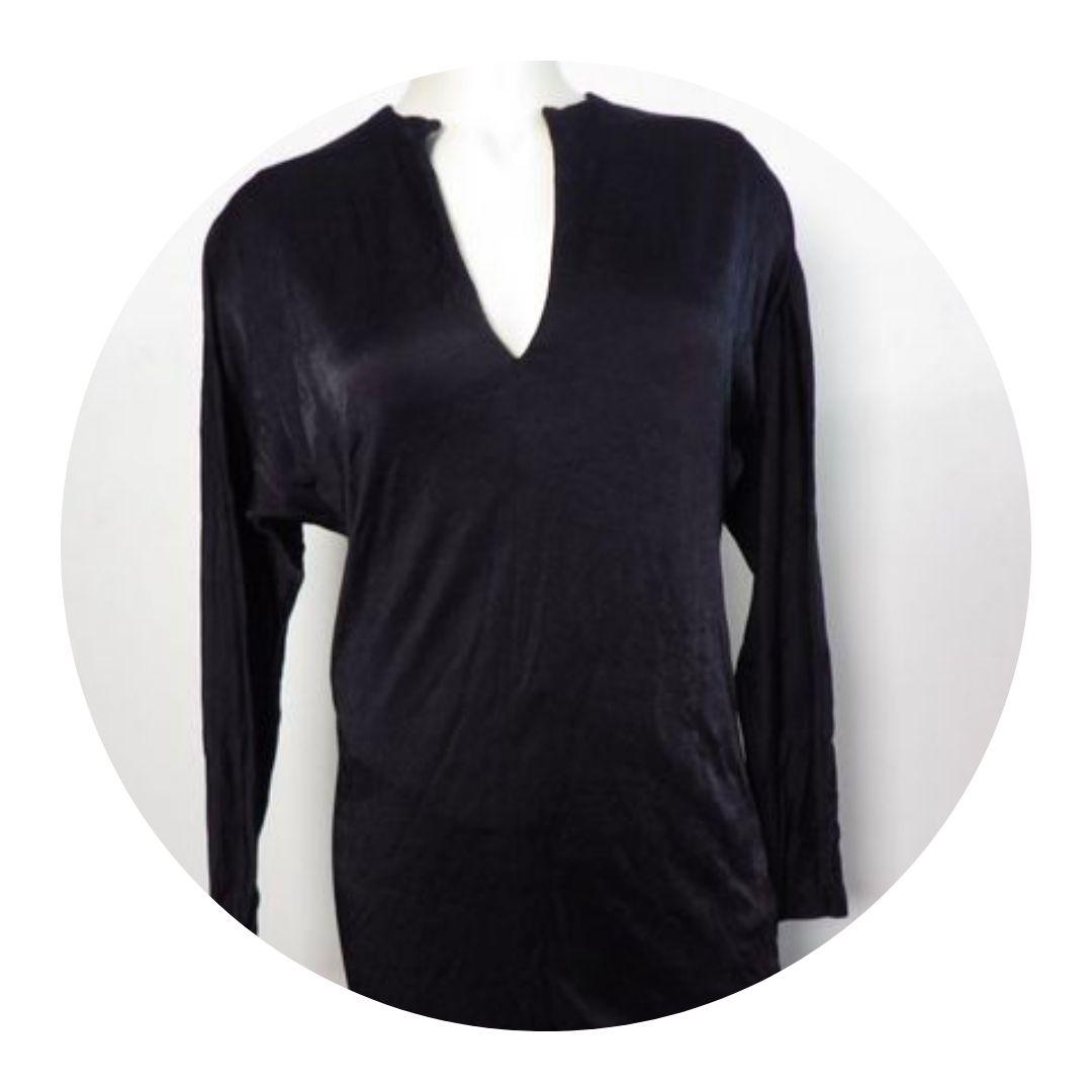 Alexander Wang Long Sleeve Tunic Top Shiny Black