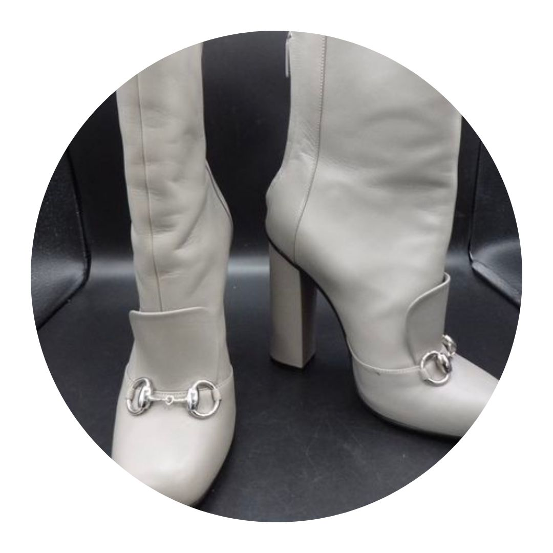 Gucci High Heel Ankle Boots Soft Gray
