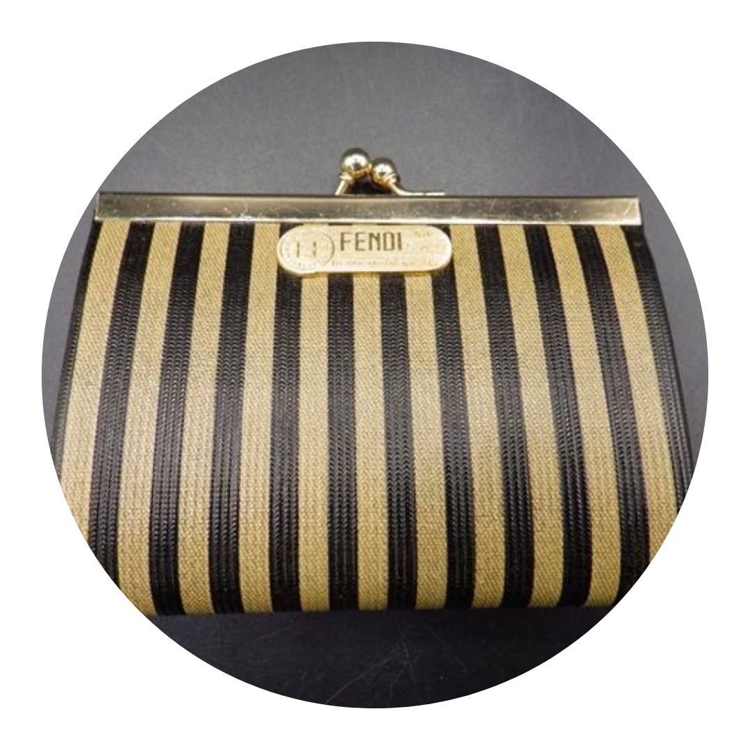 Fendi Coin Purse Black & Ivory Striped