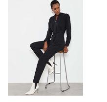 Black Puff Sleeve Boilersuit