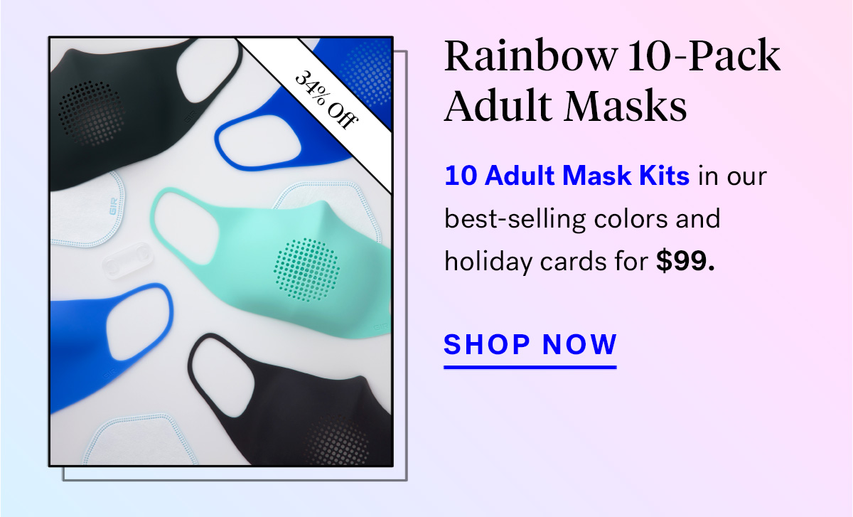 Rainbow 10-Pack Adult Masks (badge for 34% off)