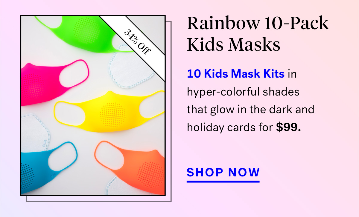 Rainbow 10-Pack Kids Masks (badge for 34% off)