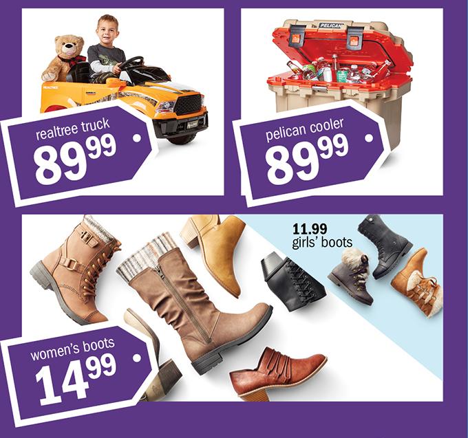 realtree truck 8999 | pelican cooler 8999 | women's boots 1499