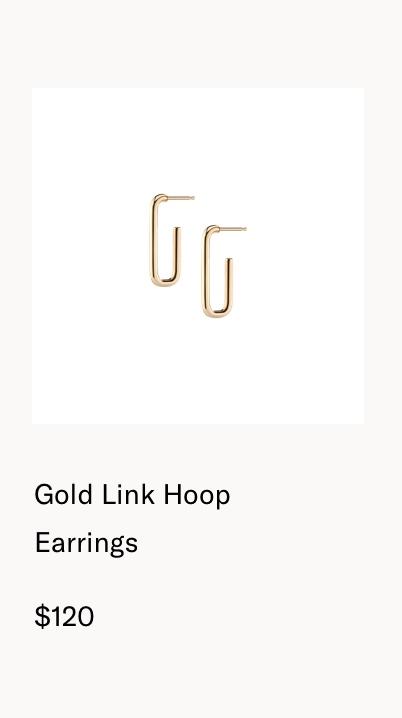 Gold Link Hoop Earrings
