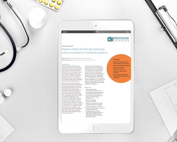 Application note: Explore cardiac function by measuring calcium oscillation or contraction patterns