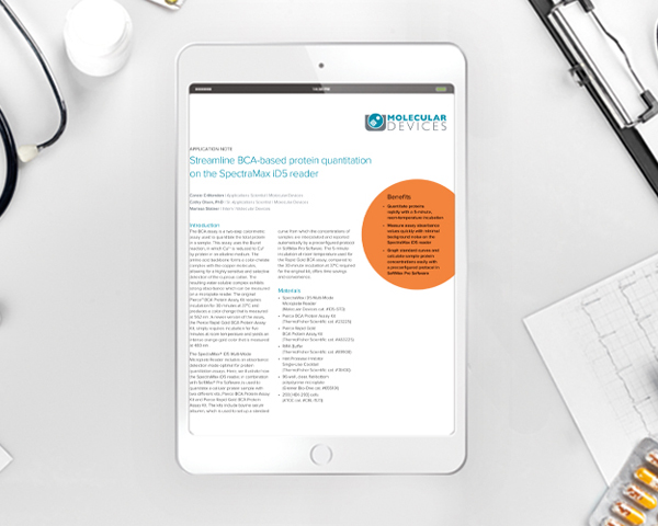 Application note: Streamline BCA-based protein quantitation on the SpectraMax iD5 reader
