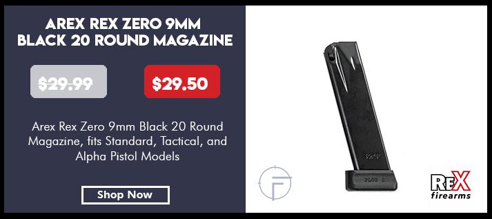 Arex 9mm Black 20 Round Magazine for Rex Zero and Rex Alpha Pistols