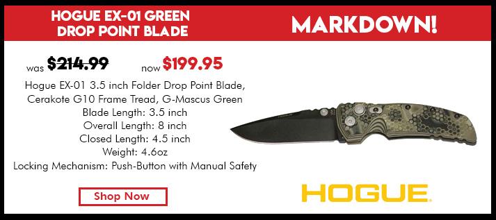 EX-01 3.5-in Folder Drop Point Blade Black Cerakote G10 Frame Tread - G-Mascus Green