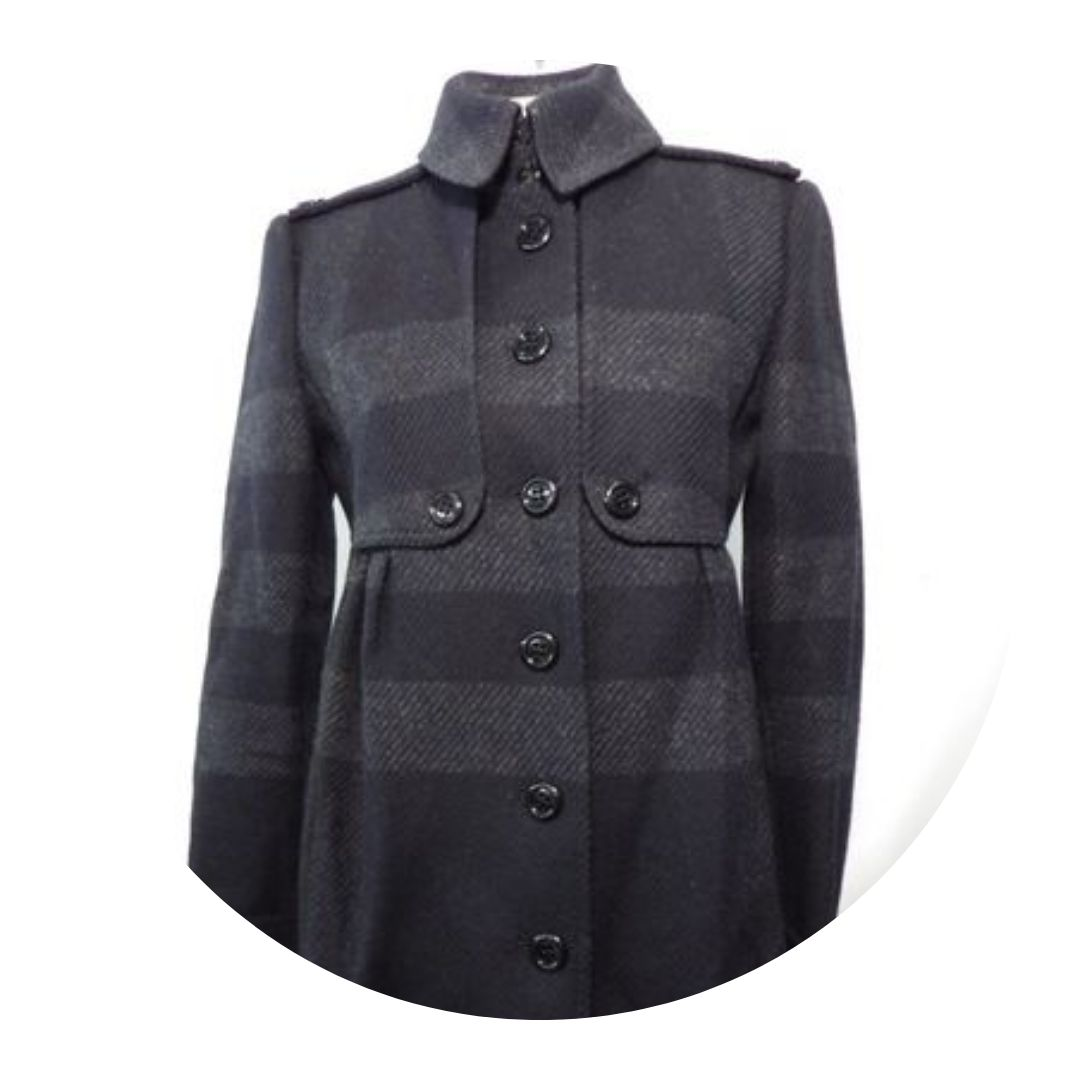 Burberry Long Plaid Navy Blue Coat