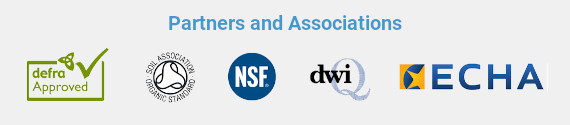 Partners and Associations: defra approved | Soil Association | NSF | DWI | ECHA