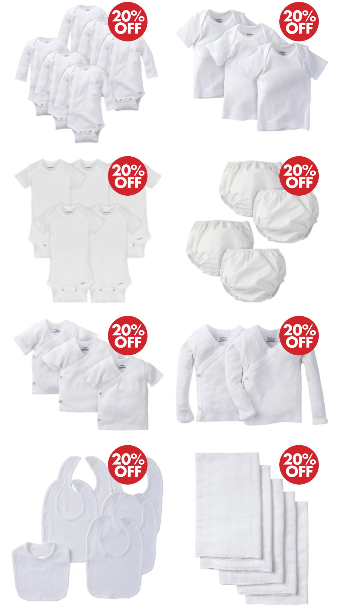 20% Off White Essentials - Onesies, Socks, Burp Cloths, and More! Click to Shop