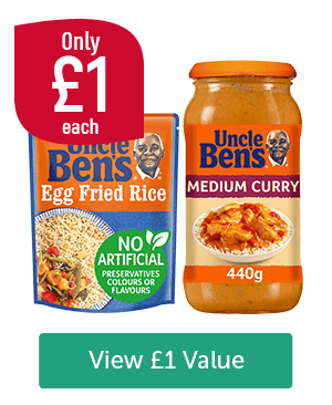 Only �each. Uncle Ben's Egg Fried Rice, Uncle Ben's Medium Curry 440g View �Value