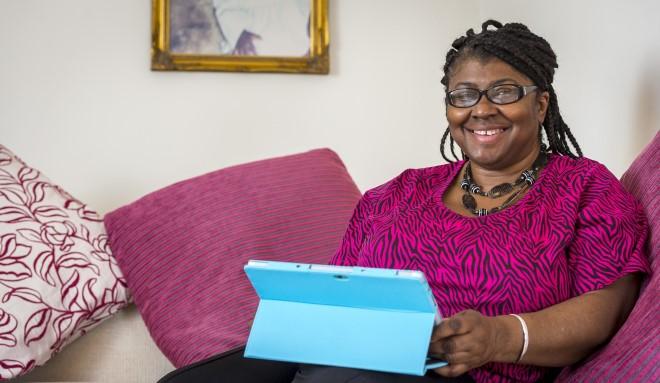 Carer using a tablet