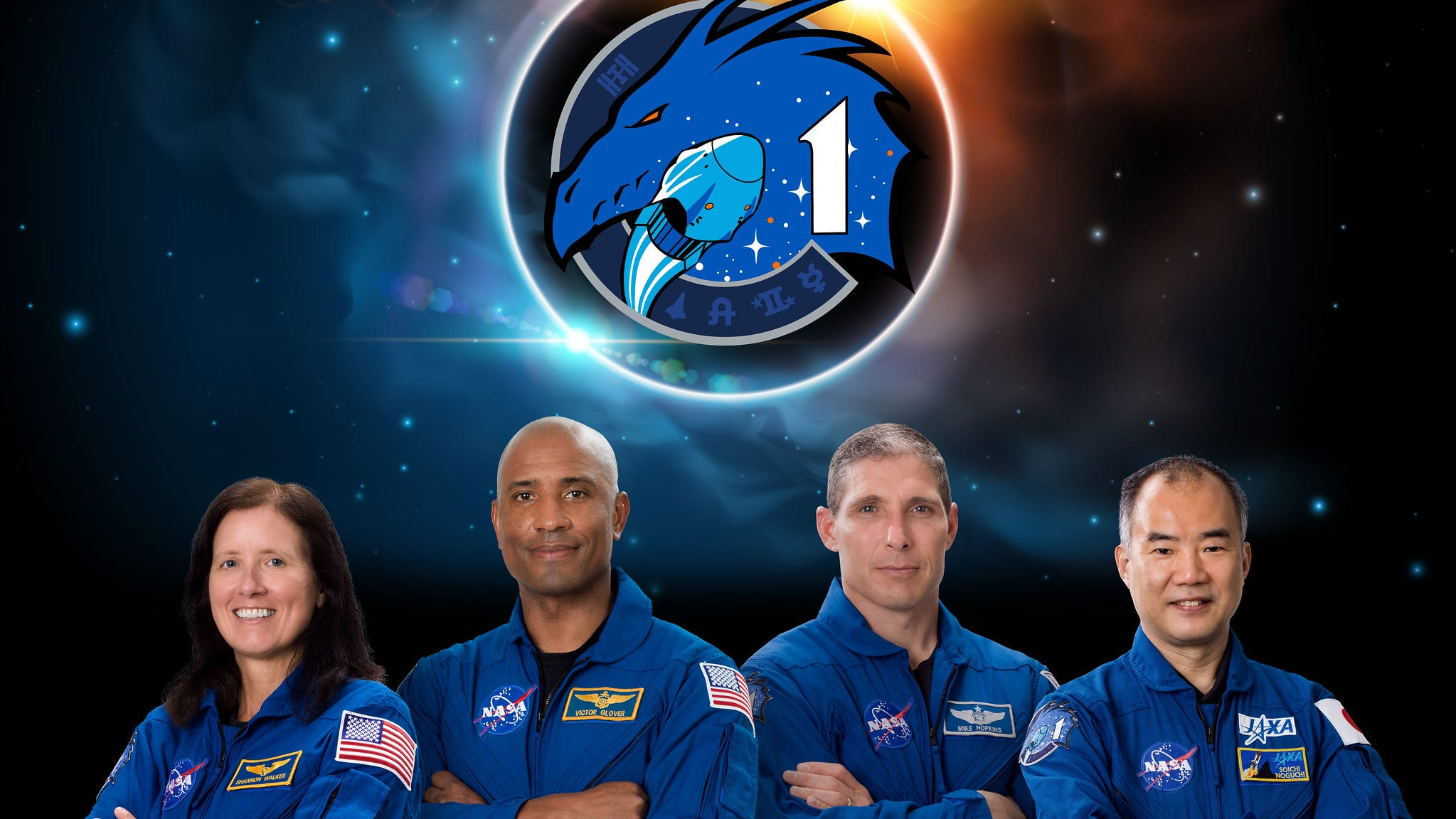 From left to right: NASA astronauts Shannon Walker, Victor Glover, and Michael Hopkins; and Japan Aerospace Exploration Agency astronaut Soichi Noguchi will fly to the International Space Station on SpaceX's first certified crewed flight.